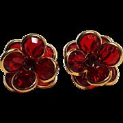 Swarovski red crystal clip earrings bezel set