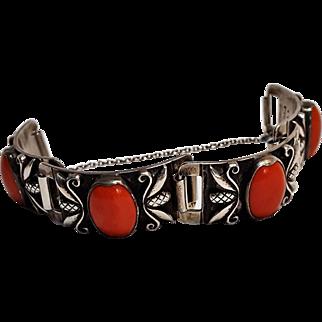 Georg Jensen USA Coral cabochon sterling silver bracelet 1940's