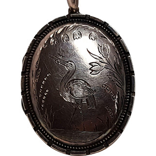 Antique silver locket Aesthetic water fowl design