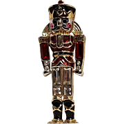 Monet nutcracker toy soldier pin enamel rhinestone
