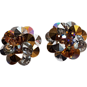 Vendome rivoli crystal earrings gold silver topaz brown