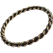 Navajo silver twisted rope bangle bracelet
