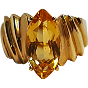 10K gold quartz stone ring