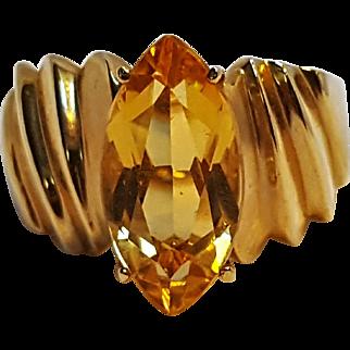 10K gold quartz stone ring