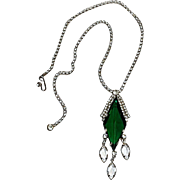 Rhinestone necklace green diamond glass stone bezel set drops