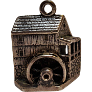 Cini sterling silver mechanical charm grist water mill