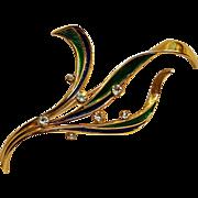 Napier enamel rhinestone blades of grass pin