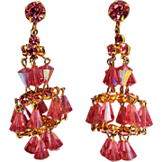 Hattie Carnegie unsigned pink crystal chandelier clip earrings