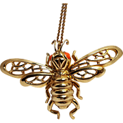 Castlecliff bumble bee pendant simulated coral eyes