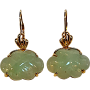 14K Gold jade  carved pierced drop earrings Hong Kong