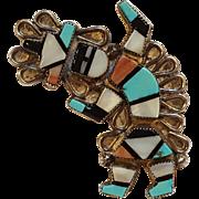 Zuni rainbow man pin inlay