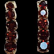 10K Gold smoky quartz earrings tapering stone drops