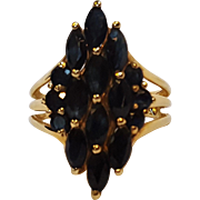 10K Gold sapphire cocktail ring