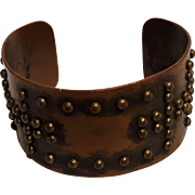 Copper cuff brass studded
