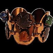 Copper plaque bracelet leaf and stones