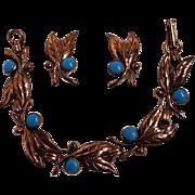 Bell Trading Post copper leaf bracelet clip earrings blue stone
