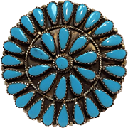 Zuni sterling silver turquoise cluster pin pendant GAB