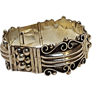 Taxco sterling silver bracelet hinged plaques