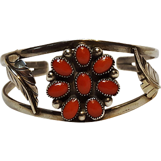 Southwest sterling silver coral cluster cuff bracelet feather TEM