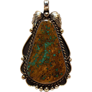 Southwest Manassa turquoise sterling silver pendant D. Secatero