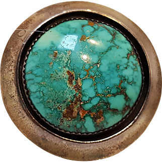 Jackson Native American sterling silver turquoise shadow box pin pendant