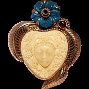 Sajen sterling silver heart Goddess gemstone pin pendant