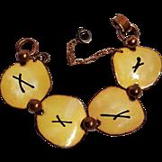 Enamel copper bracelet Mid Century Modern