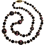Venetian Murano  glass bead necklace black pink roses