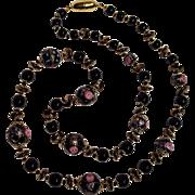 Venetian Murano  glass bead necklace black pink roses