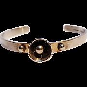 Sterling silver handmade T cuff bracelet flower
