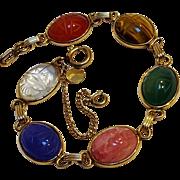 Curtis Creations 12K gf scarab bracelet genuine stone original box