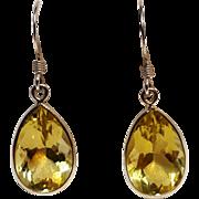 Sterling silver yellow quartz stone drop earrings