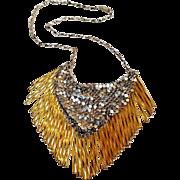 Hobe mesh necklace silver tone golden glass bead fringe