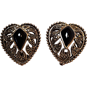 Sterling silver marcasite black stone heart earrings