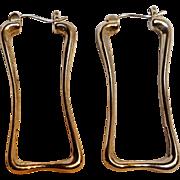 RLM Robert Lee Morris sterling silver earrings stylized rectangular hoops