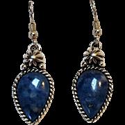 Carolyn Pollack Southwest sterling silver blue stone drop earrings