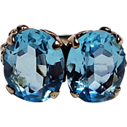 Cini sterling silver ring aqua blue glass stone