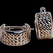 14K White gold wide hoop huggie earrings diamond cut