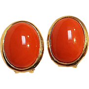 14K Gold coral cabochon clip earrings