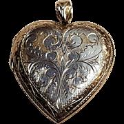 "Embossed sterling silver heart locket 2"""