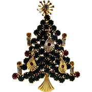 St Labre  Christmas tree pin rhinestone candles and pendant ornaments