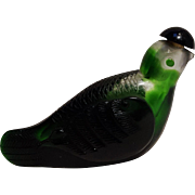 Art glass snuff bottle green bird