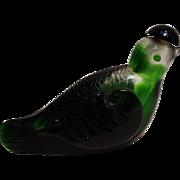 Art glass snuff bottle green bird
