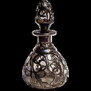 Antique sterling silver overlay perfume bottle bullet stopper