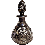 Antique sterling silver overlay perfume bottle bullet stopper