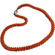 Woven coral bead rope necklace