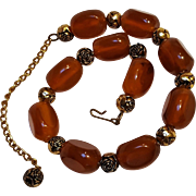 Caramel Bakelite bead necklace metal rose spacers