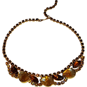 Brown rhinestone necklace givre glass fruit salad stones