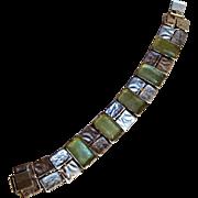 Sterling silver Israel bracelet green bottle glass