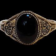 Sterling silver cuff bracelet black stone DF